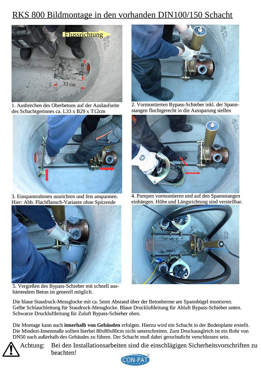 RKS 800 Bildmontage in den vorhanden DIN100/150 Schacht